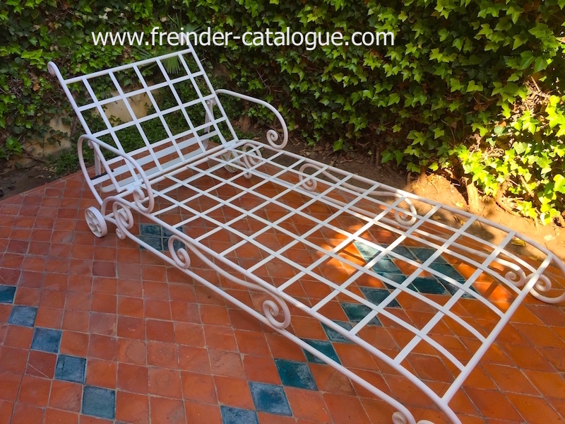 transat, chaise, longue, en fer, forge, design